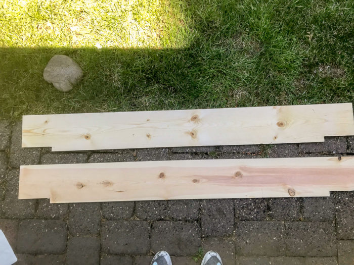 pieces of cut wood for DIY fireplace mantel