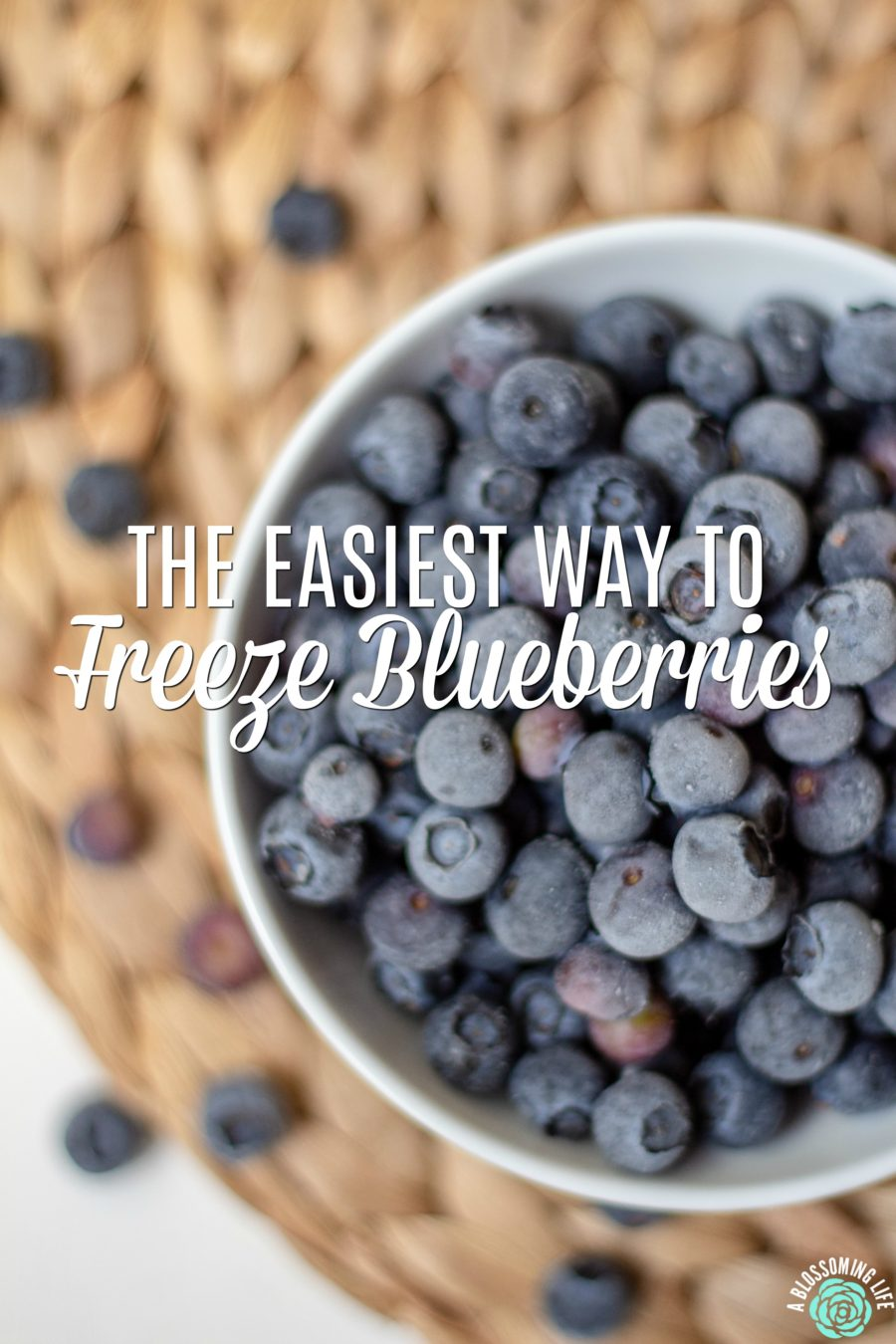 Learn how to freeze blueberries- frozen blueberries in a white bowl