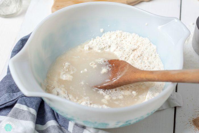 Mixing sourdough starter ingredients