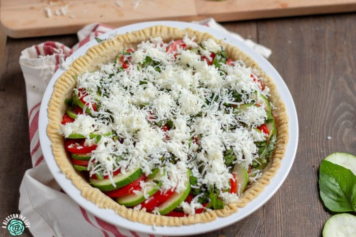 Tomato Pie Sprinkled with cheese