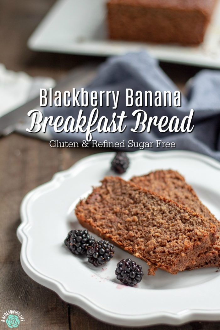 This blackberry banana breakfast bread has a hearty oat texture and a light blackberry flavor that is perfect topped with butter and a drizzle of honey. It is also protein-packed, gluten-free, and has no refined sugar.