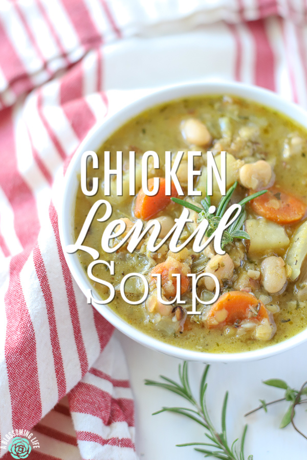 Bowl of hearty chicken lentil soup with carrots, beans, and celery.