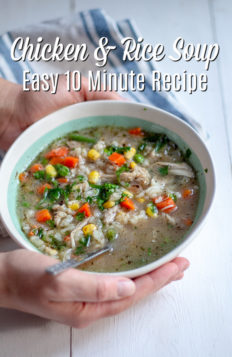 "This quick and easy homemade chicken and rice soup is a simple and hearty meal that comes together in 5 minutes, and is ready in 10. This homemade ""from scratch"" chicken and rice soup has a rich broth full of hearty vegetables, chicken, and rice."