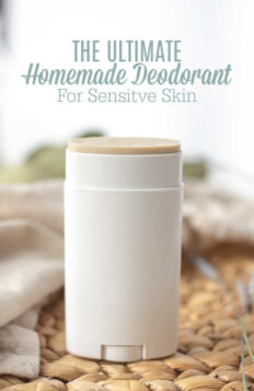 An awesome and easy homemade deodorant that actually works, and is great for those with sensitive skin since it doesn't contain baking soda.