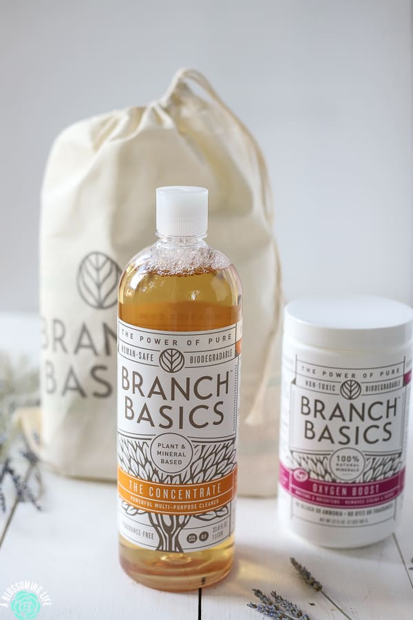 Branch Basics concentrate and oxygen boost with a bag of the starter kit behind it