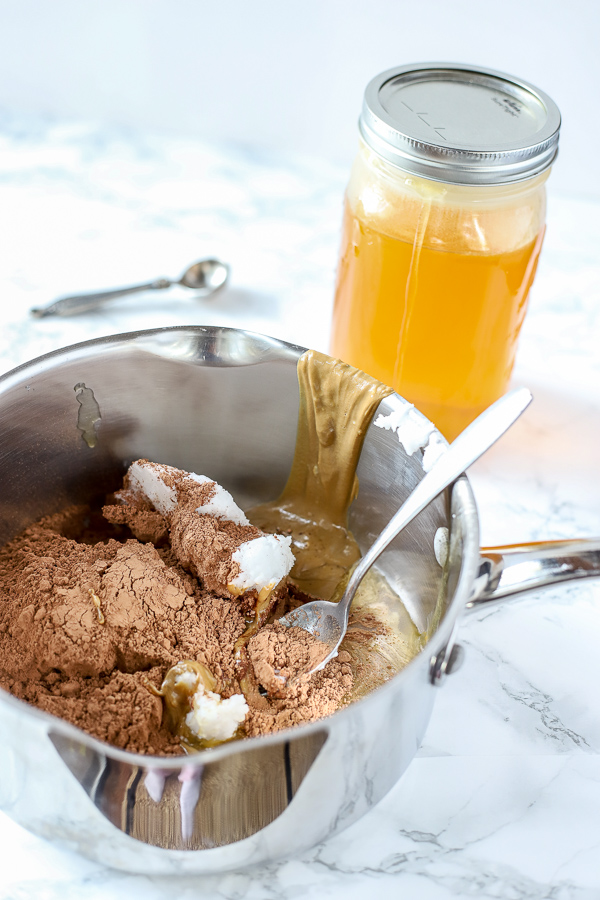Saucepan with simple fudge recipe ingredients