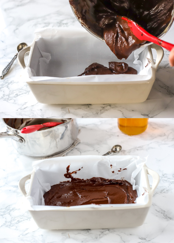 vegan simple fudge recipe being poured into a parchment lined dish
