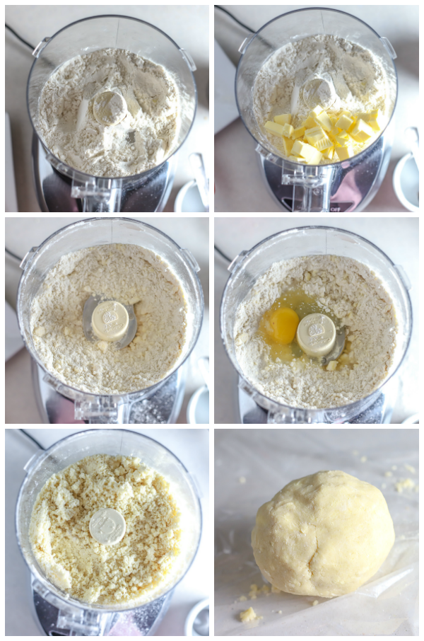 Step by step picture on hot to make gluten free pie dough in the food processor