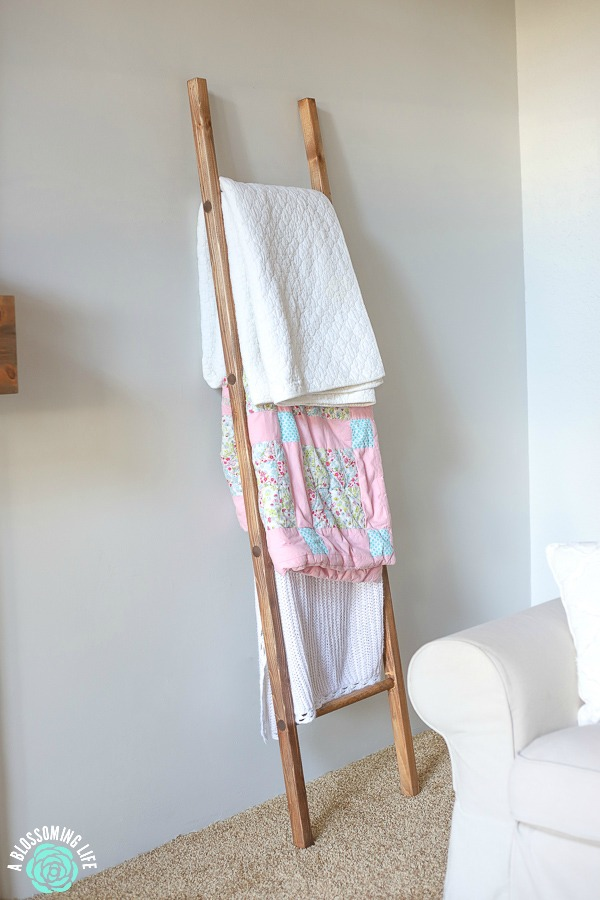DIY Blanket Ladder resting up against the wall