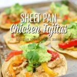 sheet pan chicken fajitas on corn tortillas on a baking sheet with more fajitas behind it