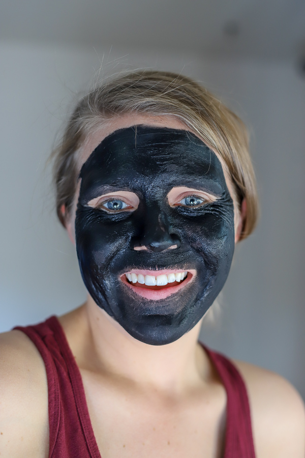 women wearing a DIY charcoal mask