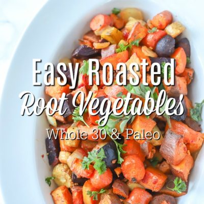 roasted root vegetables in a white dish