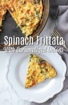 spinach frittata on a white plate with