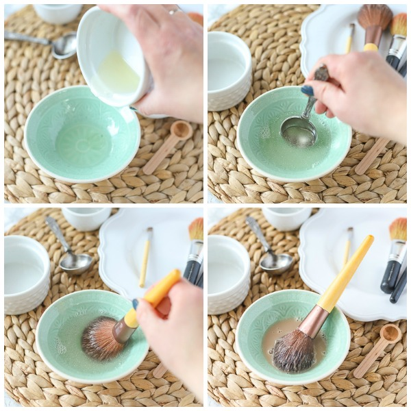 Step by step how to make DIY makeup brush cleaner and how to clean makeup brushes