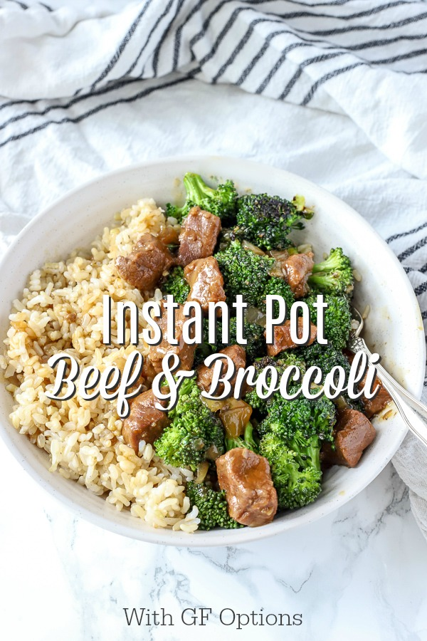 beef and broccoli recipe over rice in a white bowl with a vintage fork on top a white and black towel