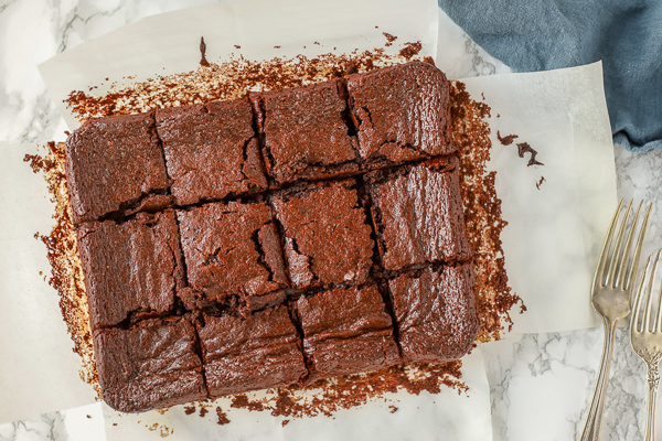 healthy brownies baked and sliced