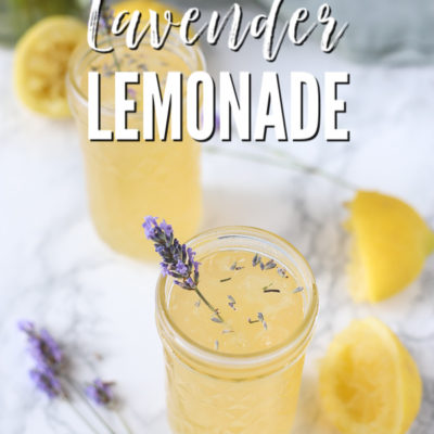 two glasses of lavender lemonade with dried lavender