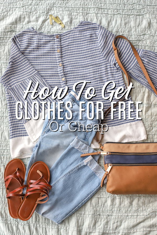 blue and white stripped top, jeans, a purse, and shoes laying on a blue background- how to get clothes for free or cheap