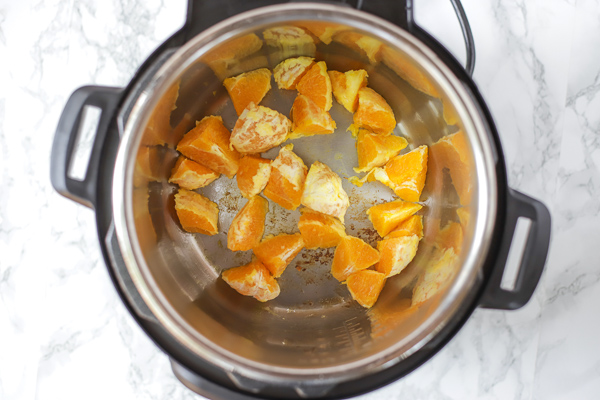 browning orange slices in the pressure cooker