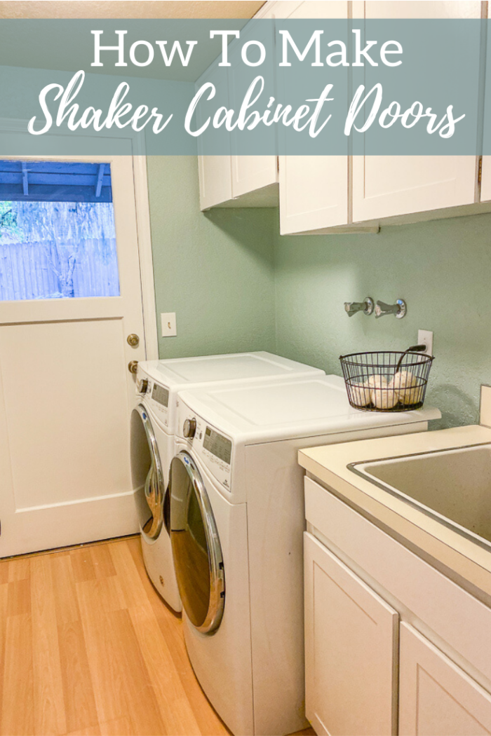 Laundry room makeover with white cabinets and blue walls - how to make shaker cabinet doors tutorial