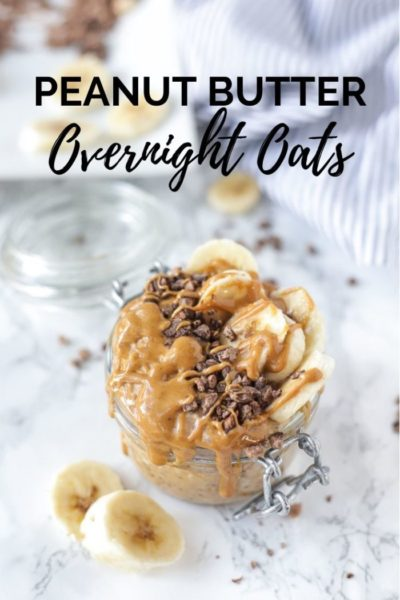 peanut butter overnight oats in a glass jar topped with bananas, chocolate, and peanut butter drizzle.