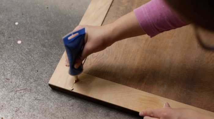 filling holes and gaps with wood filler - how to make shaker cabinet doors
