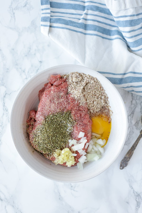 ingredients for paleo meatballs recipe in a bowl