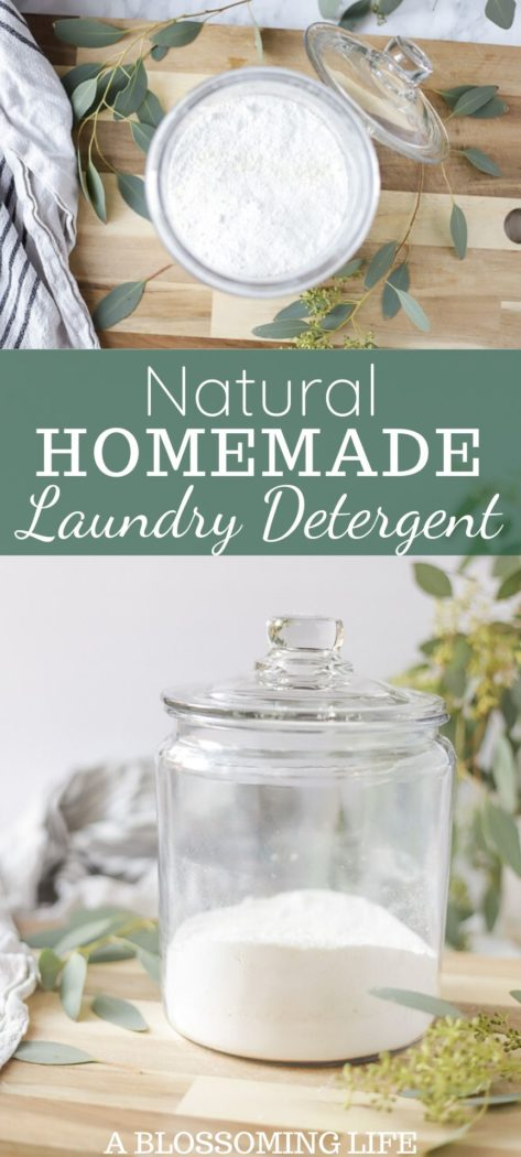 two pictures of natural homemade laundry detergent powder on a wood cutting board with eucalyptus in the background