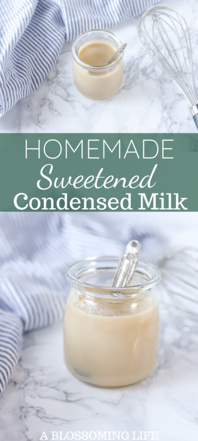 two pictures of homemade sweetened condensed milk