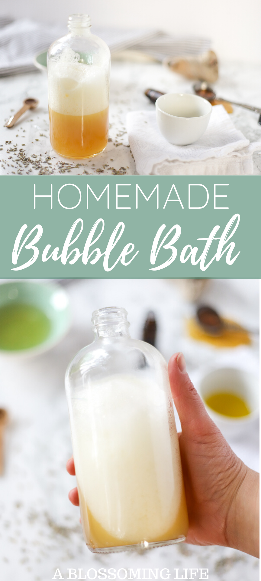 homemade bubble bath in a glass jar with a wooden spoon to the left, lavender petals spread around, and a green bowl of soap to the left