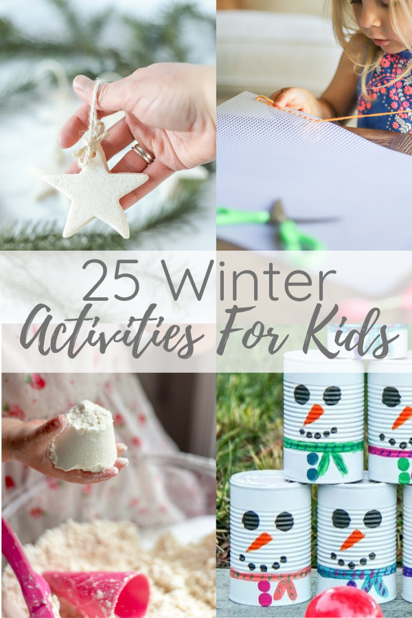 mutiple images of winter activities for kids