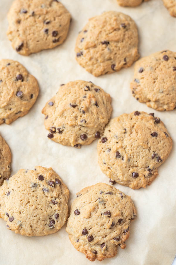 sourdough chocolate chip cookies on parchment paper