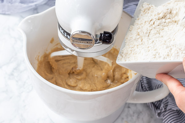 dry ingredients being added to wet ingredients while a stand mixer is on low