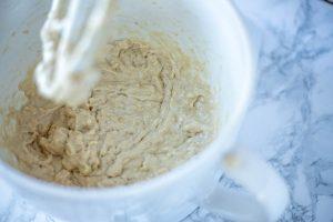 sourdough banana muffin batter in a stand mixer